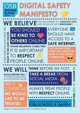 Digital safety manifesto for Orchard School Bristol