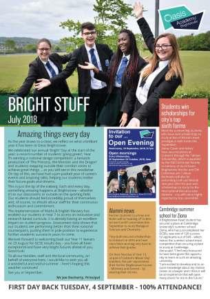 Oasis Academy Brightstowe newsletter