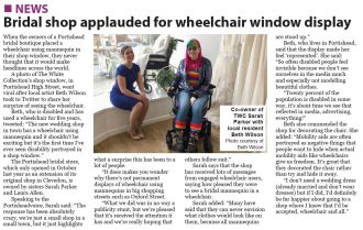 Bridal shop applauded for wheelchair window display - Portisheadvoice February 2019