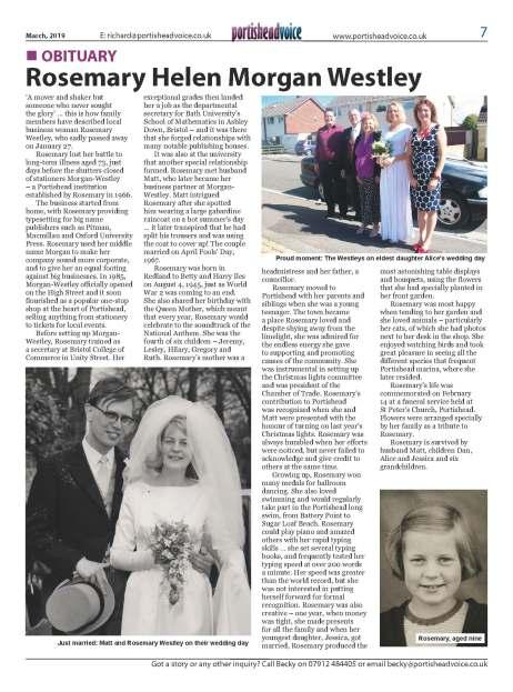 Obituary: Rosemary Helen Morgan Westley - Portisheadvoice March 2019